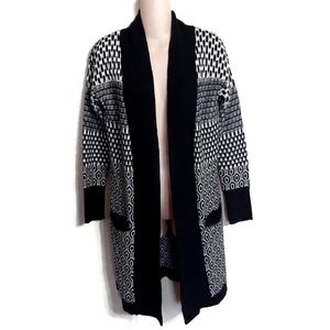 Kaisely anthro patterned long open front cardigan